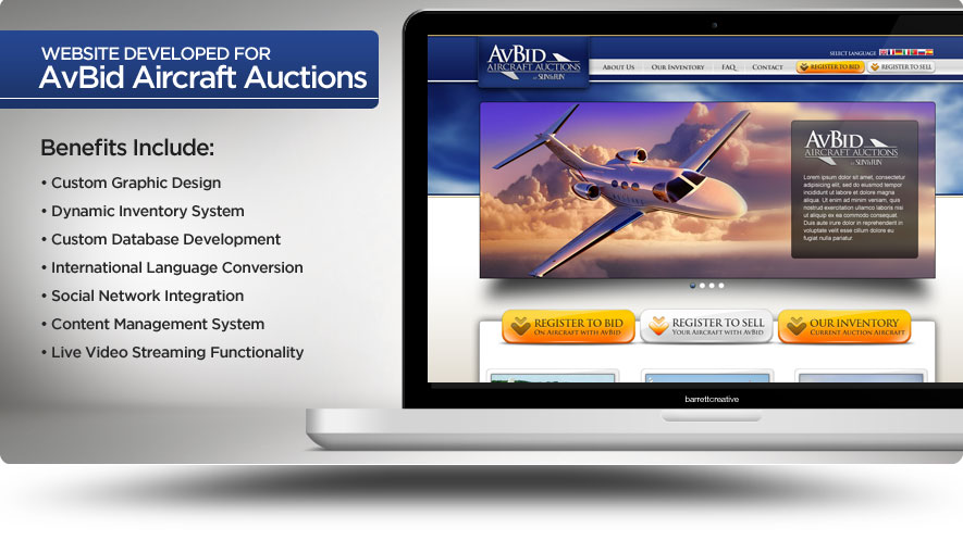 Web Design – AvBid Aircraft Auctions
